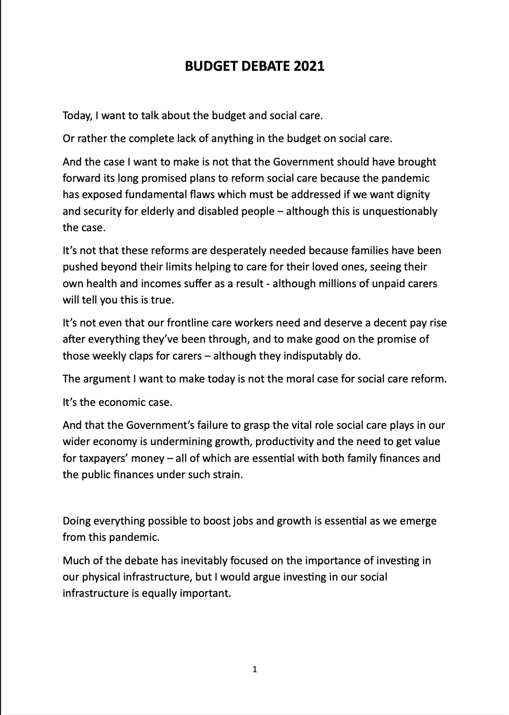 Budget Debate 2021 Speech - Page 1