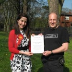 Leicester Friends of the Earth present certificate to Liz