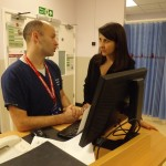 Liz talks to staff in Leicester A&E