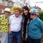 Liz judges Easter Bonnet competition
