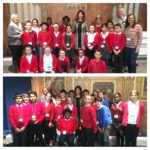 Liz welcomes pupils from Slater Primary School to Parliament