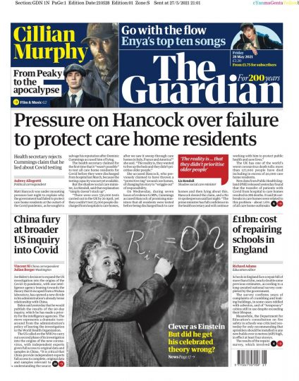 Front page of the Guardian newspaper